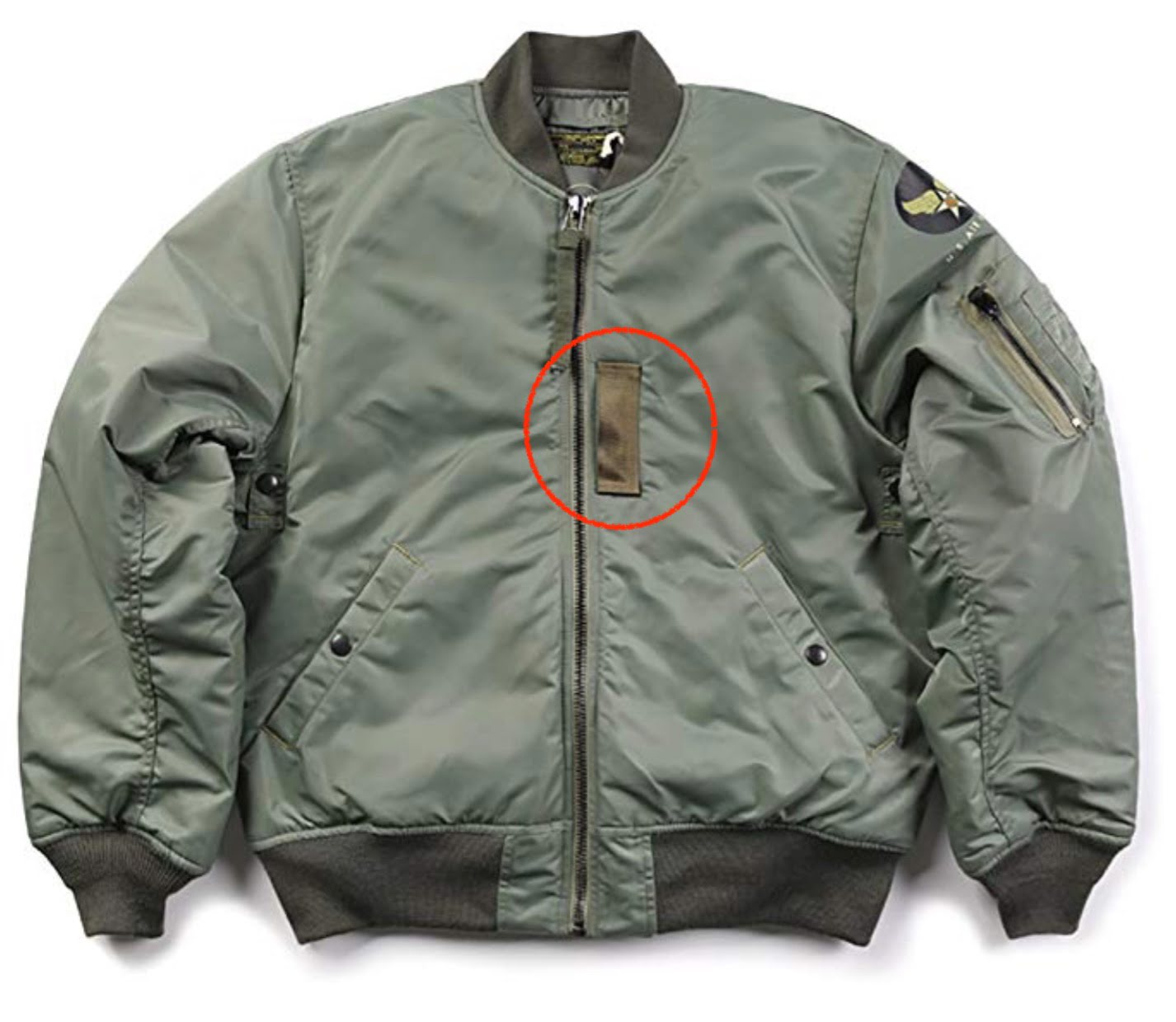 US Air Force Flight Bomber Jacket Sample 空軍飛行夾克左胸口前的垂直束帶布條的功用?