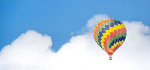 hot air balloon blue sky cloud
