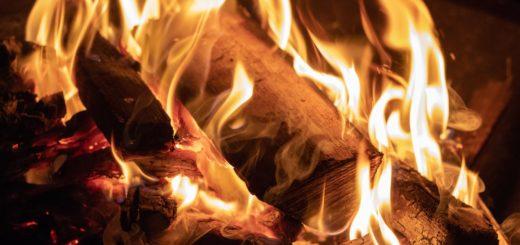 charcoal burning campfire